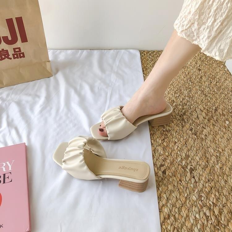 網紅夏季涼拖鞋女外穿ins潮新款夏天時尚中跟粗跟仙女風百搭