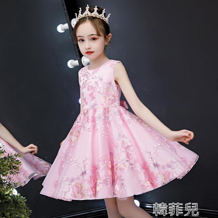 2021夏季新款女童禮服 童裝女童連身裙夏裝新款兒童公主裙紗裙夏季小女孩洋氣蓬蓬紗裙子 2021新款