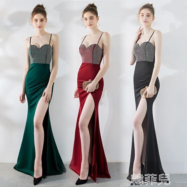 透視禮服 宴會晚禮服裙新款氣質車模酒吧性感夜店連身裙吊帶魚尾長款女 2021新款