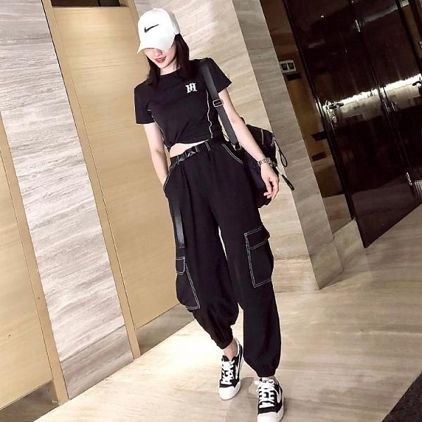 時尚套裝女夏季薄款工裝褲束腳9分褲哈倫褲寬鬆顯瘦速干褲潮套裝『潮流世家』