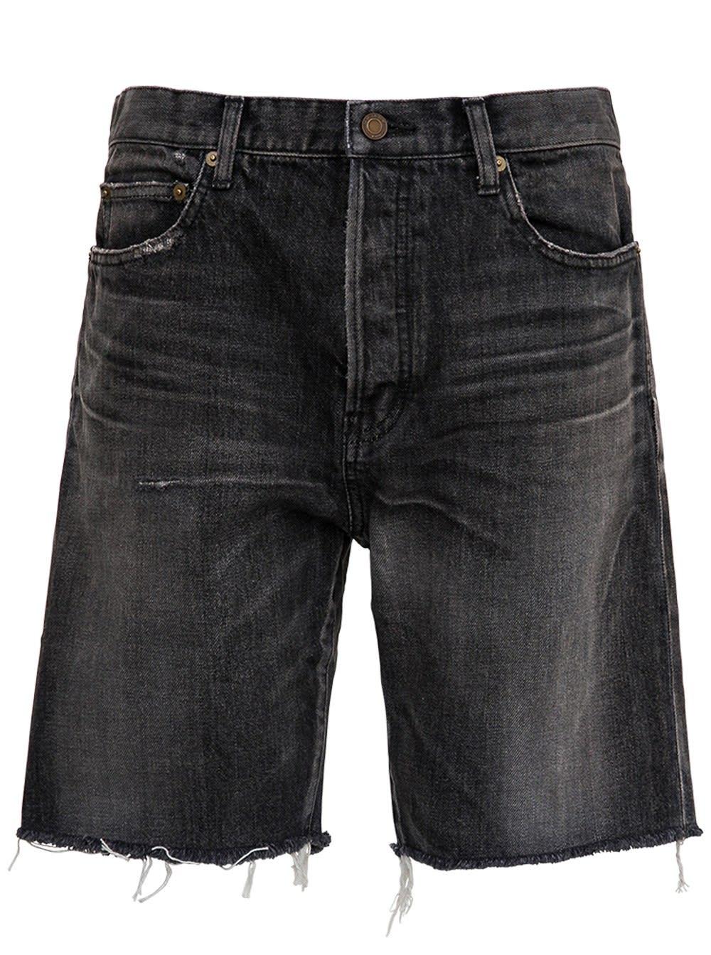 Saint Laurent Black Denim Fringed Bermuda Shorts