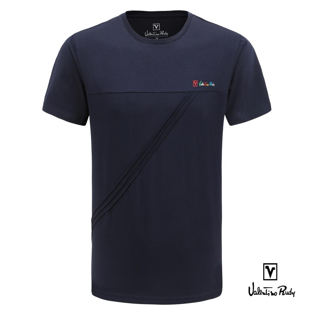 Valentino Rudy 范倫鐵諾.路迪 奧黛爾棉T恤-摺線紋-深藍