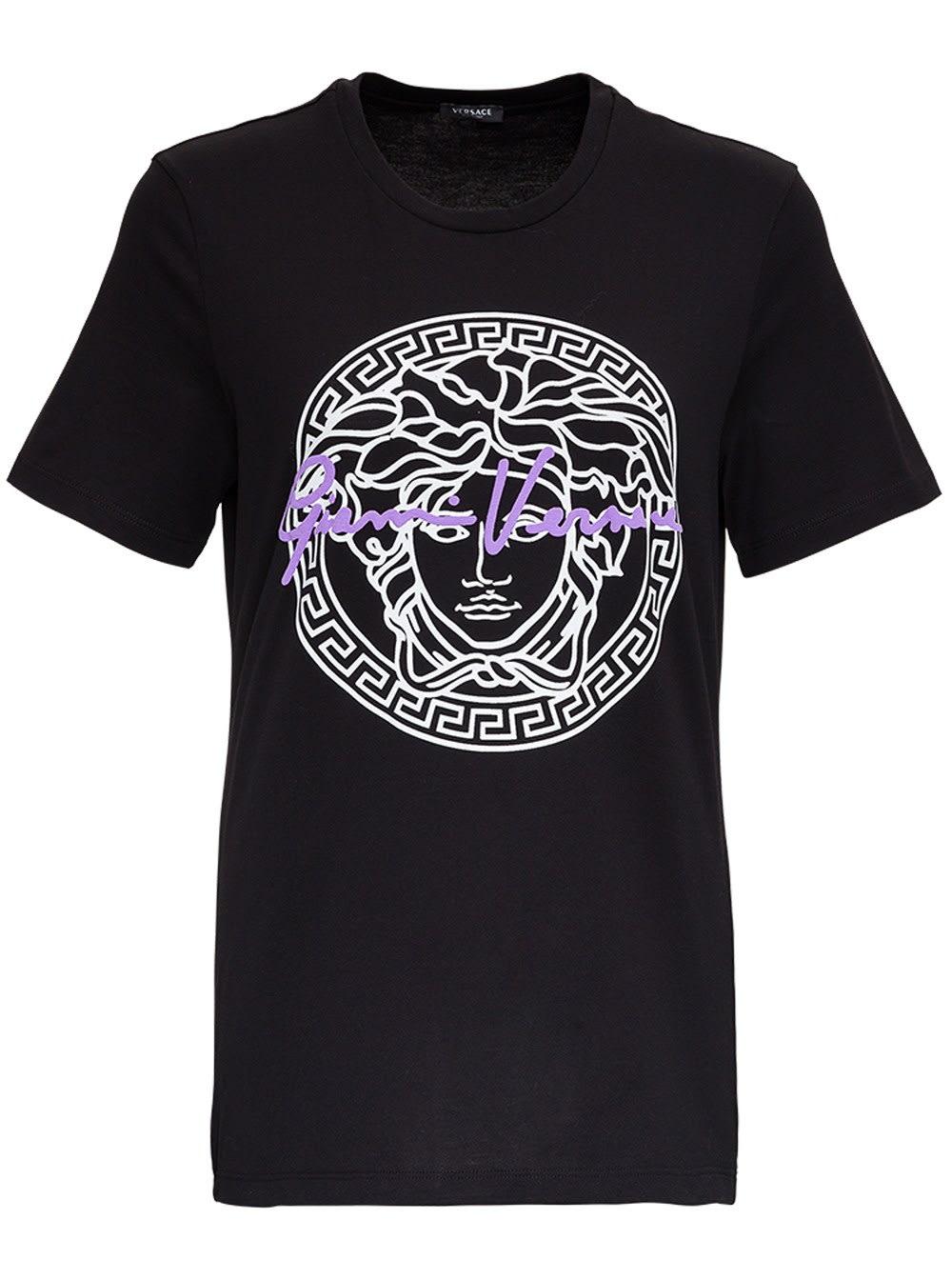 Versace Jersey T-shirt With Medusa Print