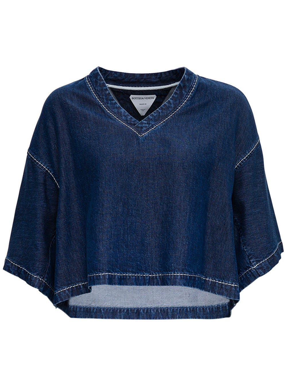 Bottega Veneta Cropped Top In Blue Denim