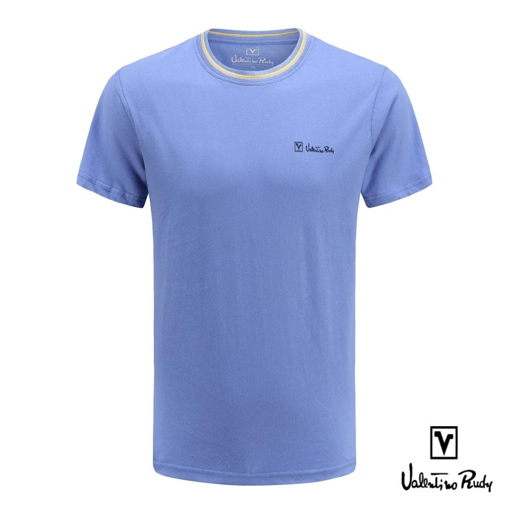 Valentino Rudy 范倫鐵諾.路迪 純棉T恤衫-灰黃螺紋領圈-藍