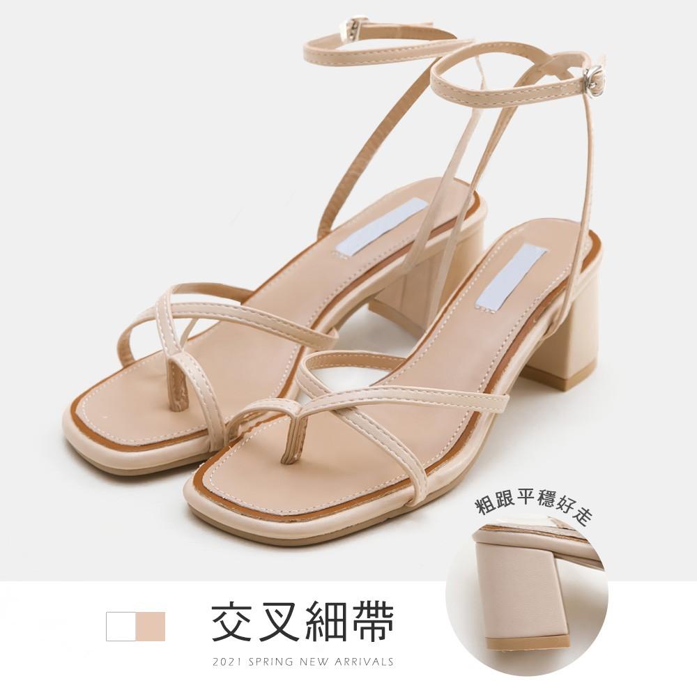 FMSHOES 交叉細帶踝釦高跟涼鞋-杏-20008135