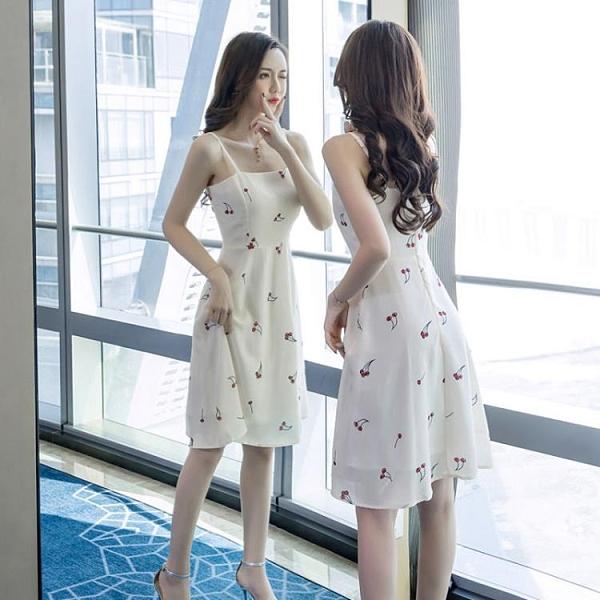 吊帶連衣裙女夏2021新款櫻桃雪紡印花小清新中長款氣質無袖連衣裙 快速出貨