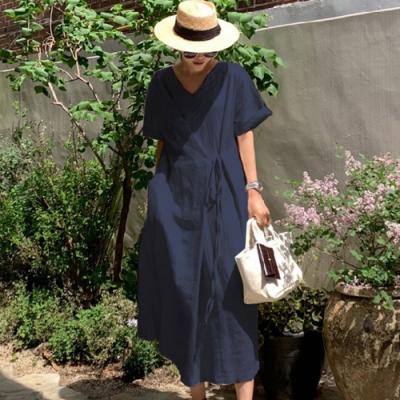 【KISSDIAMOND】日韓熱銷純色慵懶風兩面穿棉麻洋裝(4色F/KDD-2606)