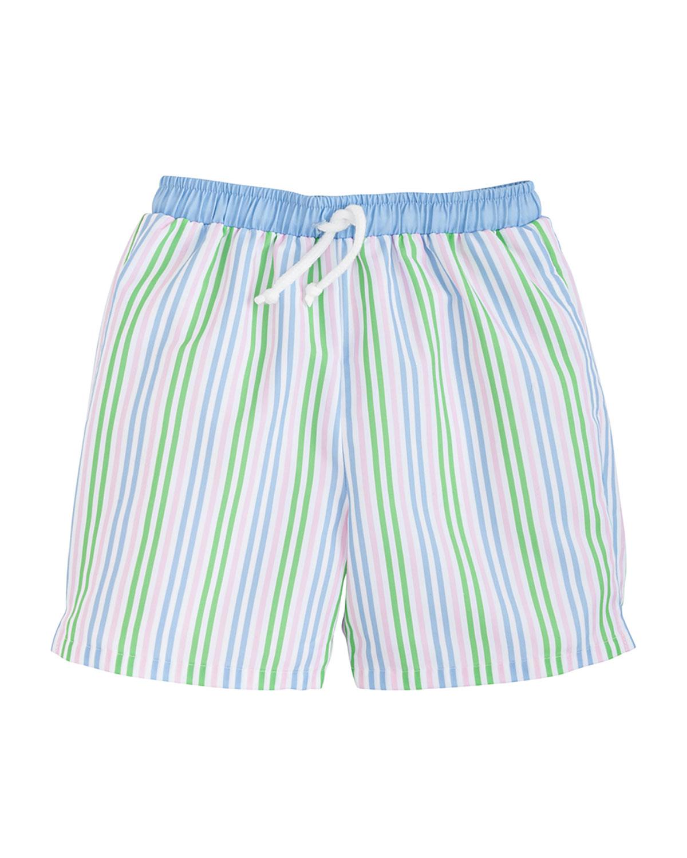 Boy's Striped Drawstring Pull-On Shorts, Size 3M-10