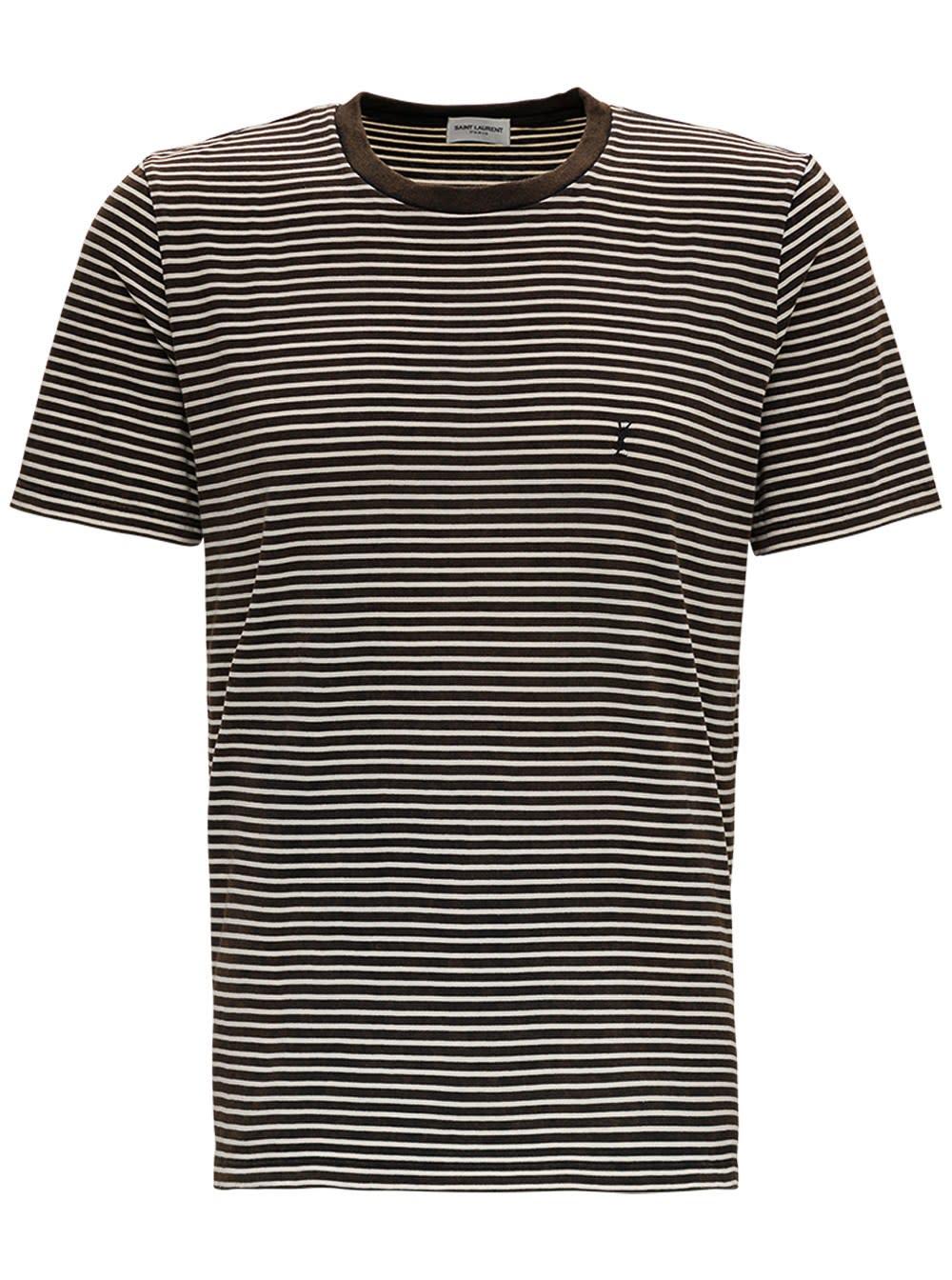 Saint Laurent Striped Cotton T-shirt With Logo