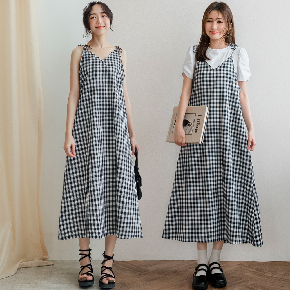 MIUSTAR 細肩綁帶格子洋裝(共2色)洋裝 長洋裝 0413 預購 【NJ0994】