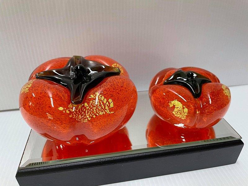 水晶玻璃 金箔柿子 好事成雙 事事如意 紙鎮