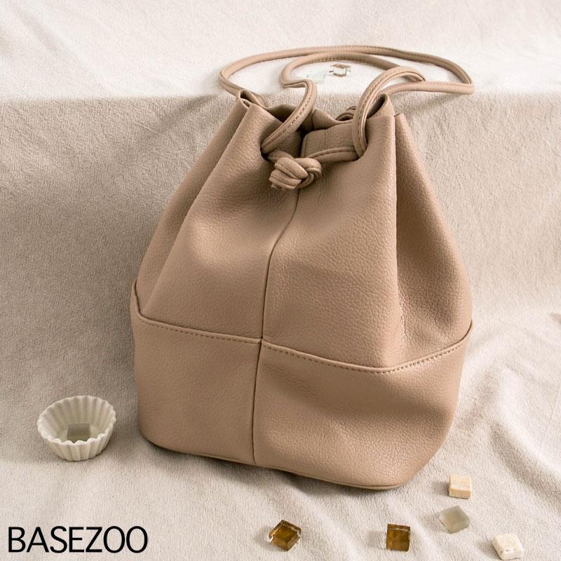 貝思奇-柔軟皮革抽繩水桶包(奶茶)【S650905】