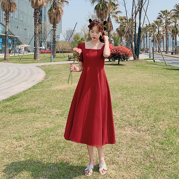 小尺碼短袖洋裝連身裙~9307# 連身裙女復古赫本風收腰顯瘦方領氣質女神范中長裙H325日韓屋