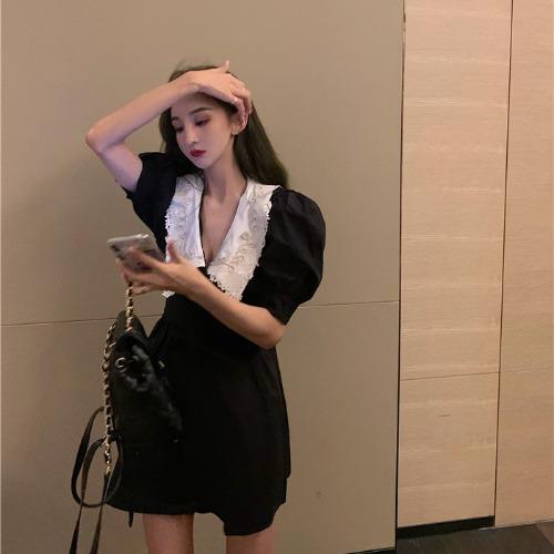 IELGY 法式復古茶歇小黑裙泡泡袖連衣裙女夏季2021年新款短裙娃娃領裙