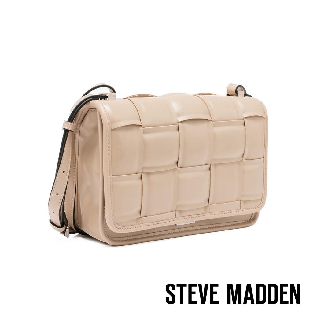 Steve Madden 奶茶色 皮革編織包 BMATTER 方形 翻蓋 側背 斜背包【70047】