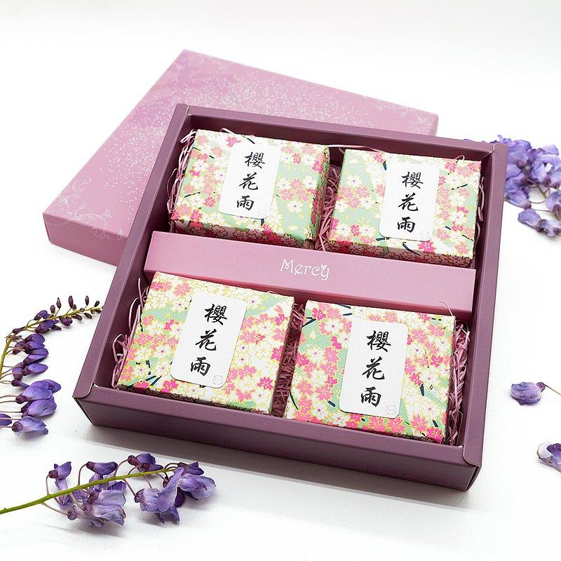 櫻花雨之戀手工皂禪風禮盒///四入禮盒組