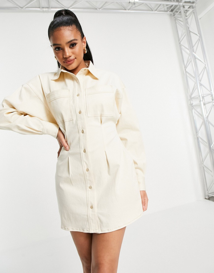 Aria Cove denim shirt dress with pocket detail in cream-White