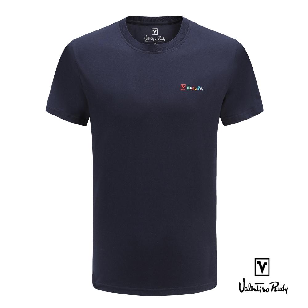 Valentino Rudy 范倫鐵諾.路迪 純棉T恤衫-素面純色螺紋領圈-深藍