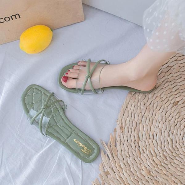 涼拖鞋女外穿平底時尚百搭透明一字拖鞋防滑【慢客生活】