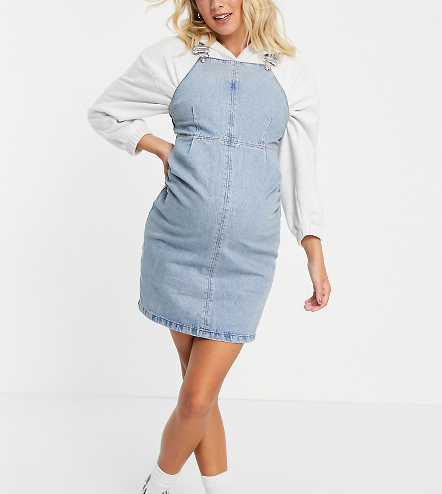 ASOS DESIGN Maternity dungaree pinny dress in midwash-Blue