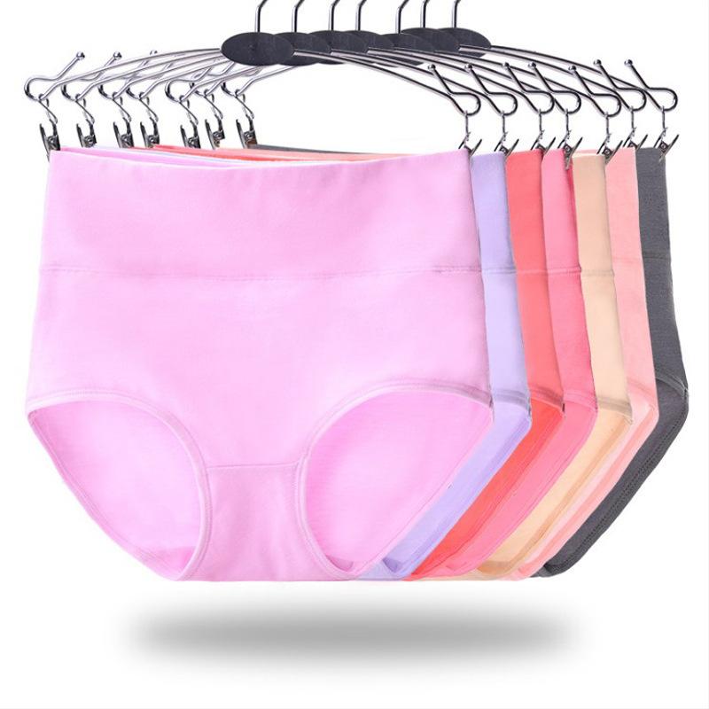 高腰收腹純棉內褲女士收腹棉質產後提臀三角褲廠家批發 5個碼