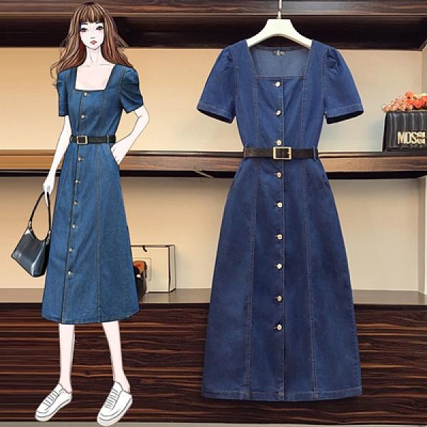 L-5XL胖妹妹大碼洋裝連身裙~大碼女裝牛仔裙連身裙中長款時尚顯瘦A字中長款裙3F088愛尚布衣
