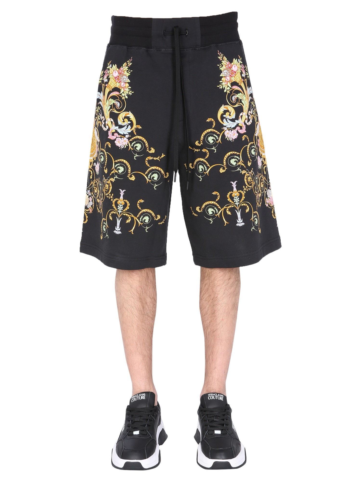 versace jeans couture bermuda with tullerie print
