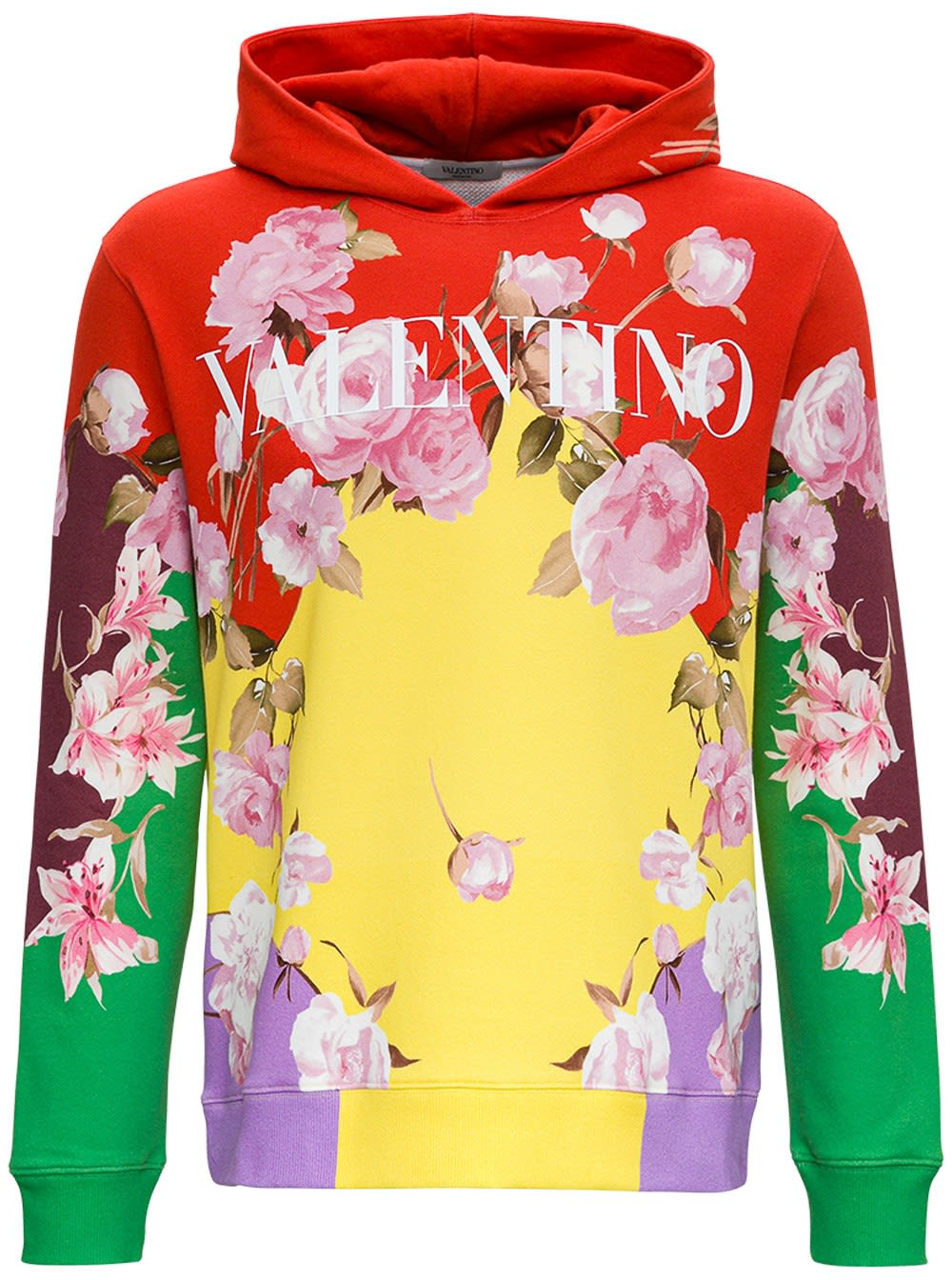 Valentino Multicolor Jersey Hoodie With Logo Print