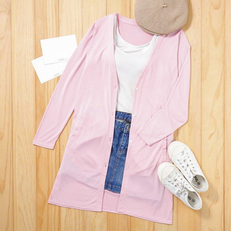 水潤白抗UV保濕長版外套-石英粉 UV外套 涼感 防曬罩衫