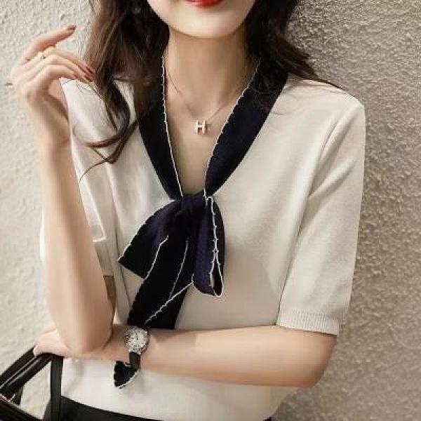 上衣 針織衫簡約百搭韓版波浪紋飄帶 清爽雙曲紗針織衫女A1220T19紅粉佳人