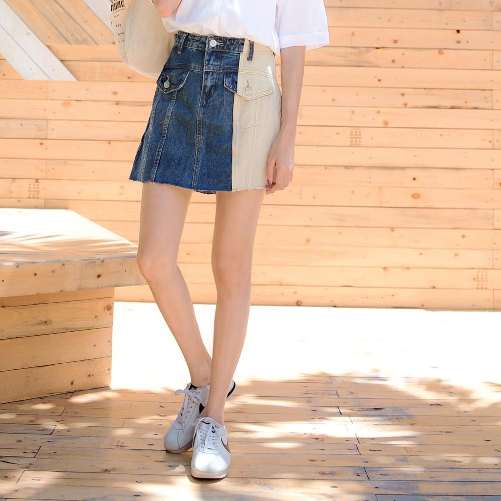 高含棉造型口袋撞色拼接抽鬚牛仔裙 《CA1959》