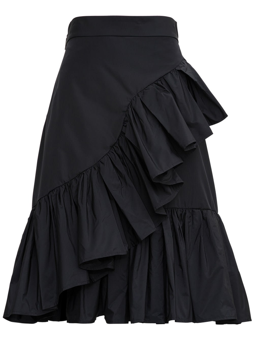 MSGM Black Skirt With Ruffle Detail