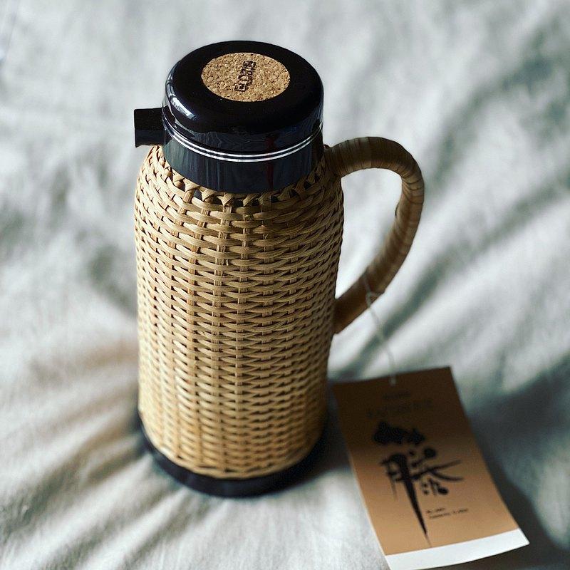 日本昭和 手工藤編水壺 咖啡壺 魔法瓶 保溫壺 全新