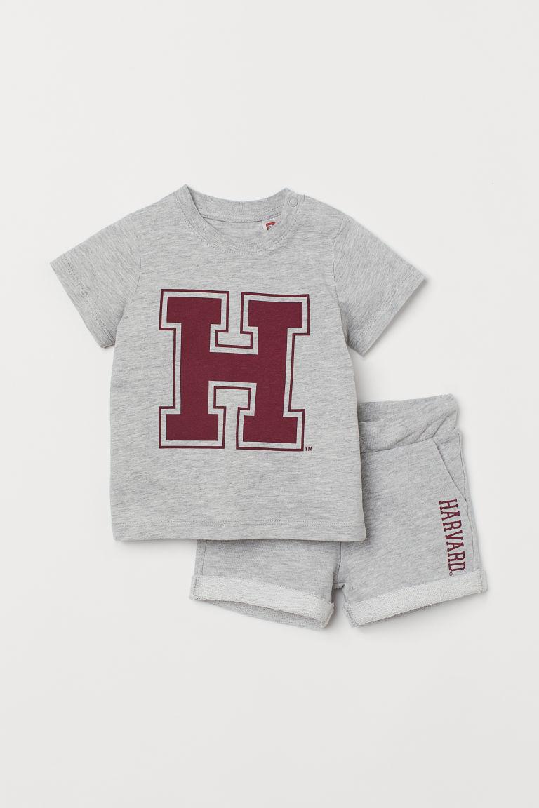 H & M - 棉質2件組套裝 - 灰色