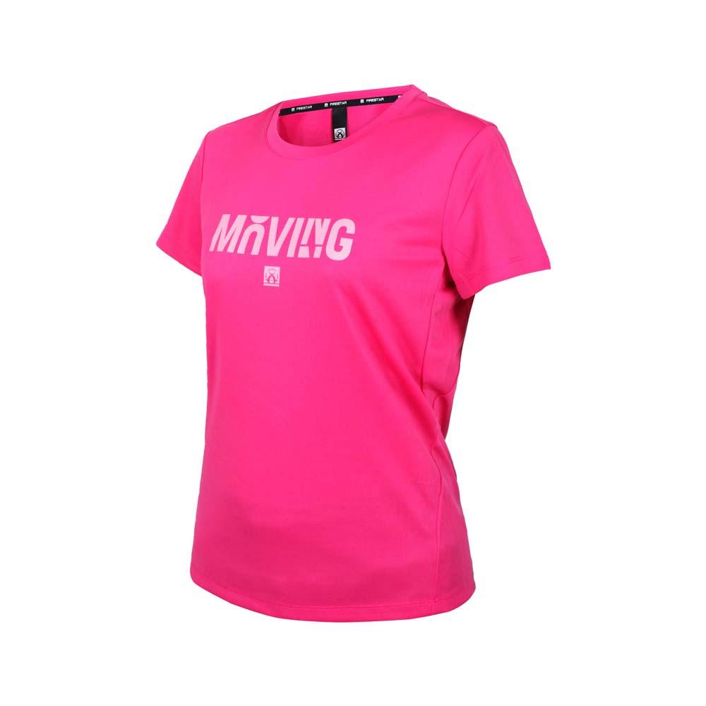 FIRESTAR 女吸排印花圓領短袖T恤-運動 慢跑 路跑 上衣 桃紅粉