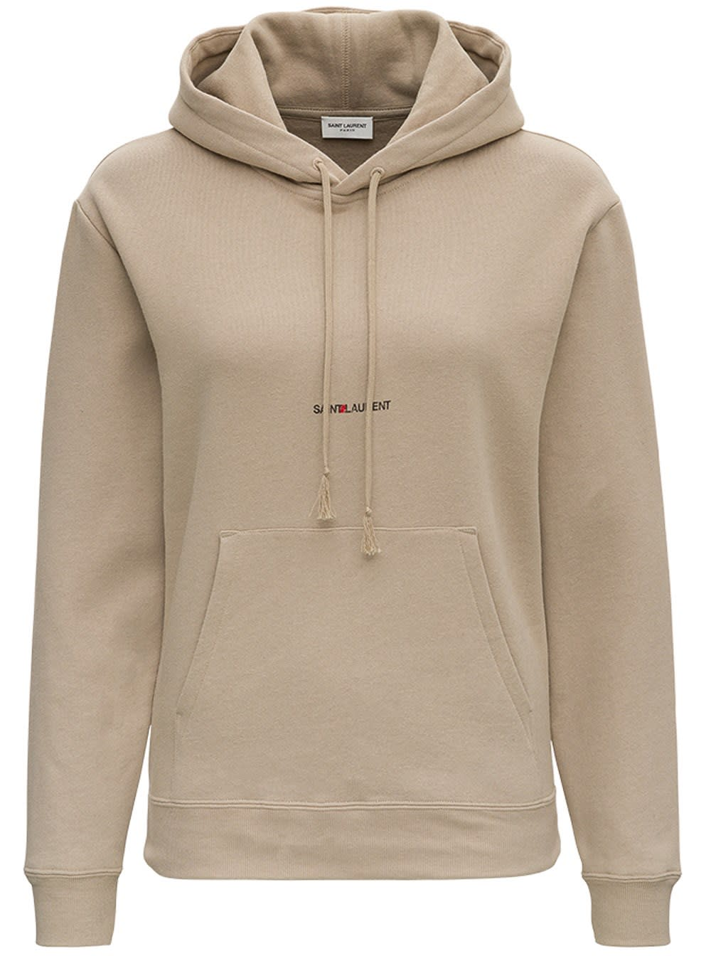 Saint Laurent Beige Jersey Hoodie With Logo Print