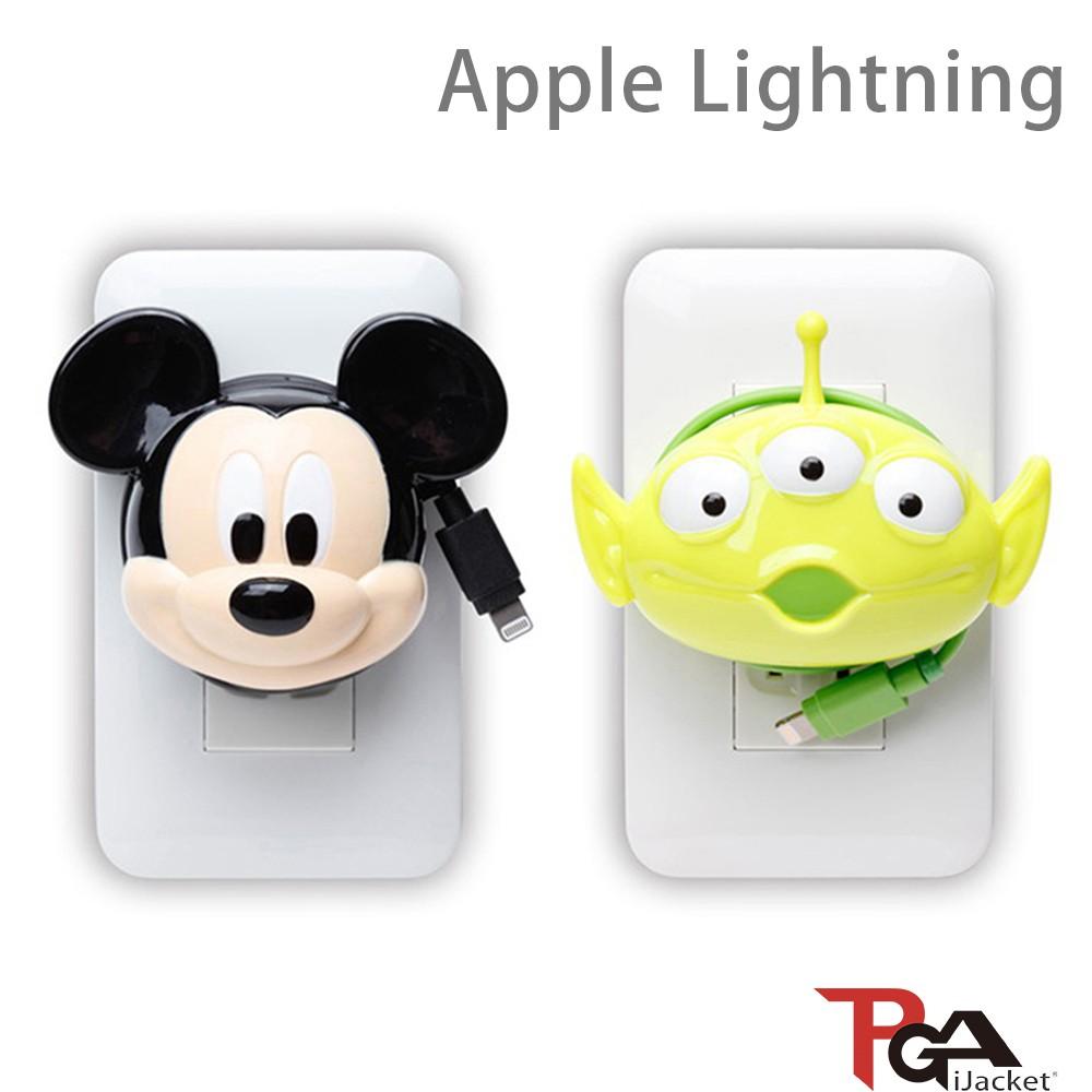 日本-PGA 迪士尼 Lightning 大頭系列 AC充電器 1.2M 2.1A極速充電 廠商直送 現貨