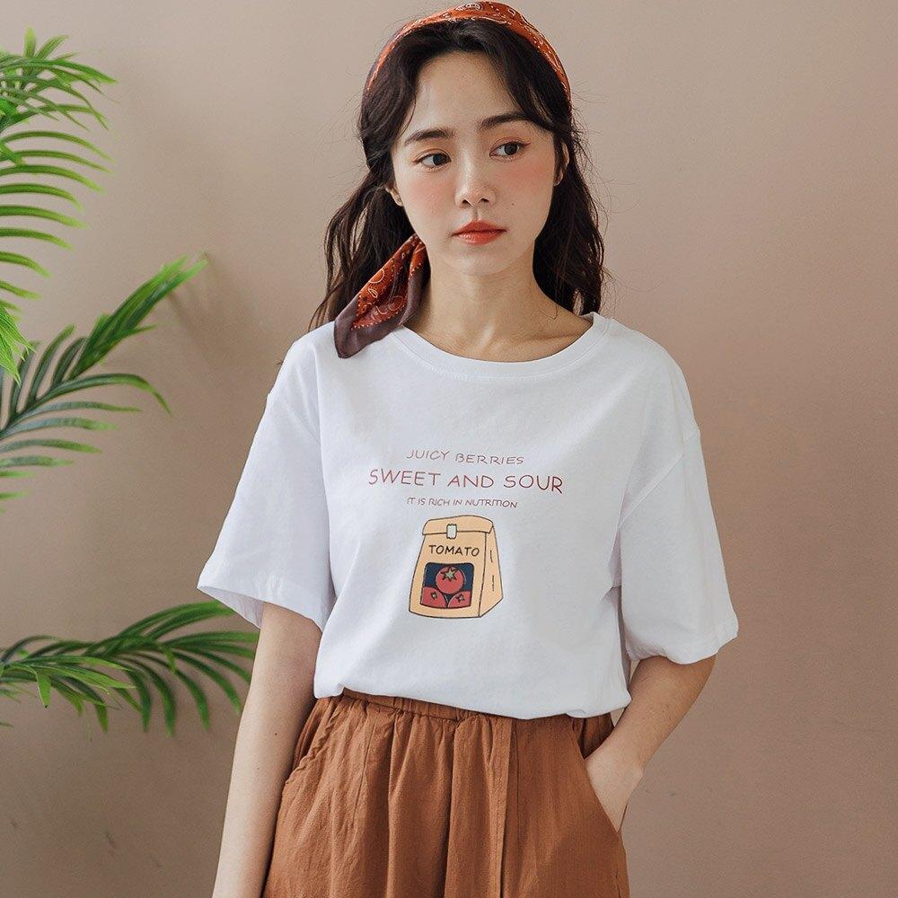 MIUSTAR 番茄愛好者的購物袋棉質上衣(共2色)短袖 短袖T恤 0413 預購【NJ0894】
