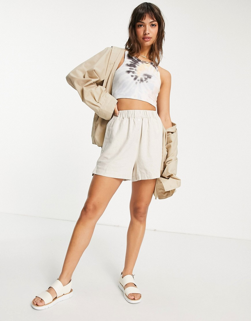 ASOS DESIGN boxer short 3 piece co-ord in oatmeal linen-Neutral