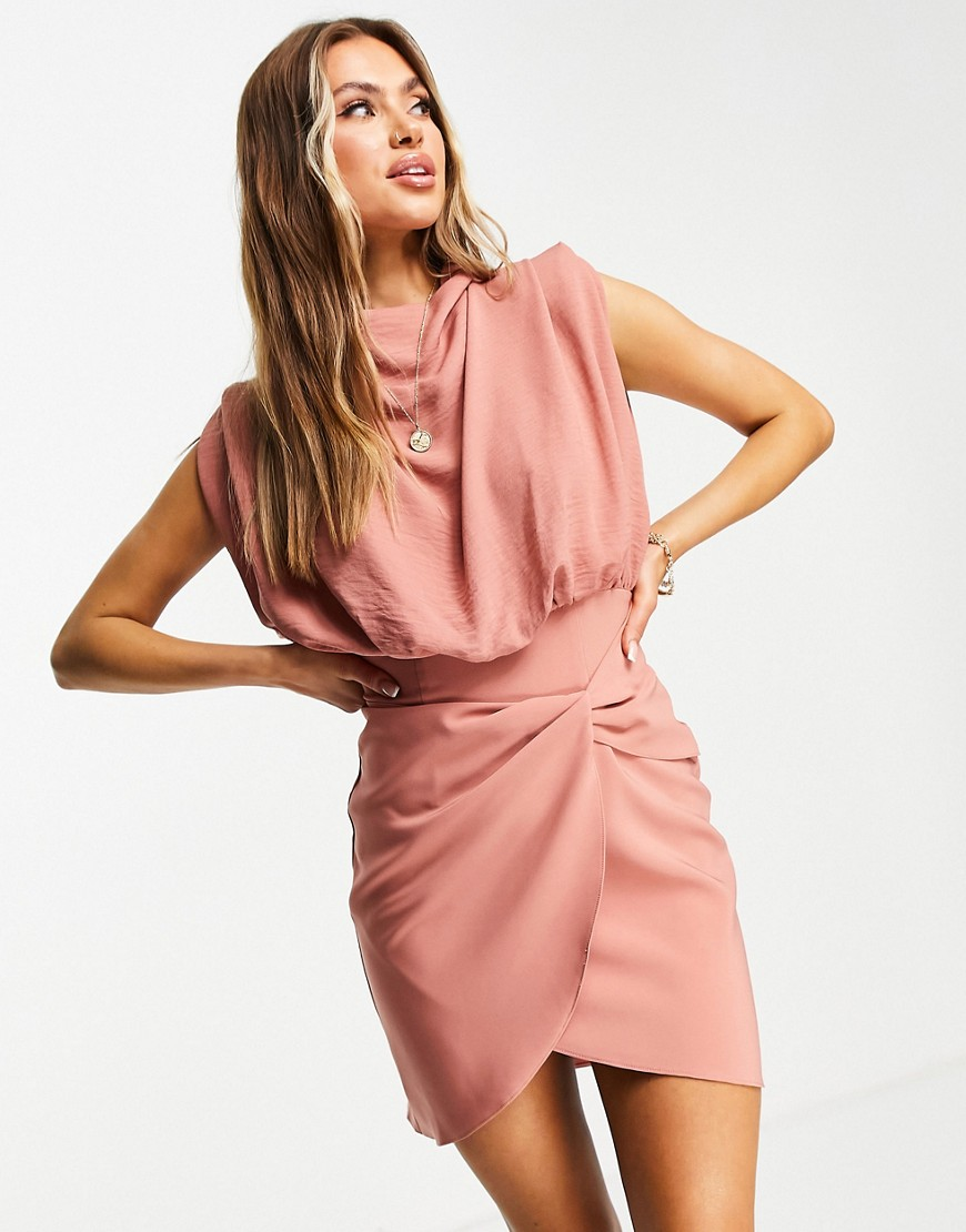ASOS DESIGN cowl neck blouson mini dress with twist skirt in terracotta-Pink
