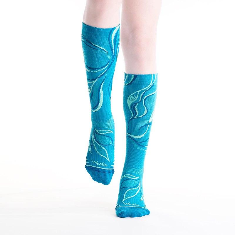 【動感Play】魚波盪漾-藝術花紋設計長筒機能輕壓氣墊運動襪-藍綠
