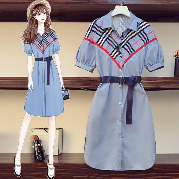 洋裝 襯衫裙 連身裙L-4XL中大尺碼 大碼時尚拼接中長款襯衫衣連衣裙R04.2548胖胖美依