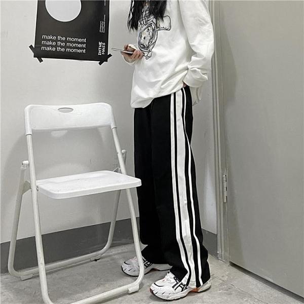 運動褲 2021春季新款韓版ins學生杠條直筒褲運動褲寬鬆闊腿休閒褲男女潮 韓國時尚週