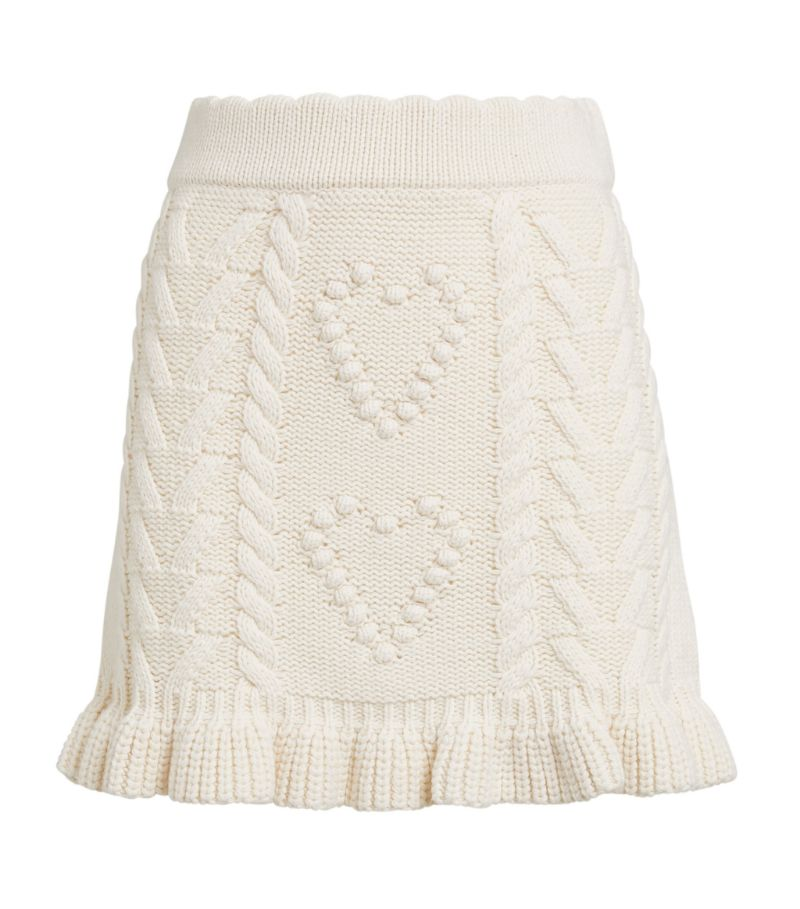 Loveshackfancy Cable-Knit Brendana Mini Skirt
