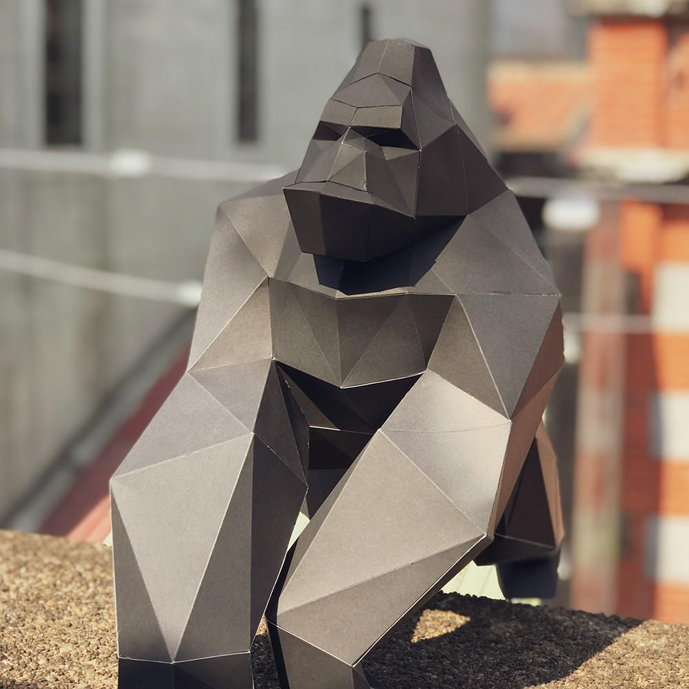 匠紙_3D 立體紙模型_DIY 材料_禮物_手作_ 大猩猩擺飾