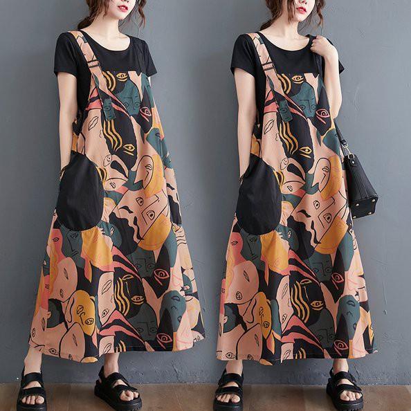 背心裙 吊帶裙時尚復古印花洋氣背帶長款過膝A字連衣裙MC051B.3199胖胖美依