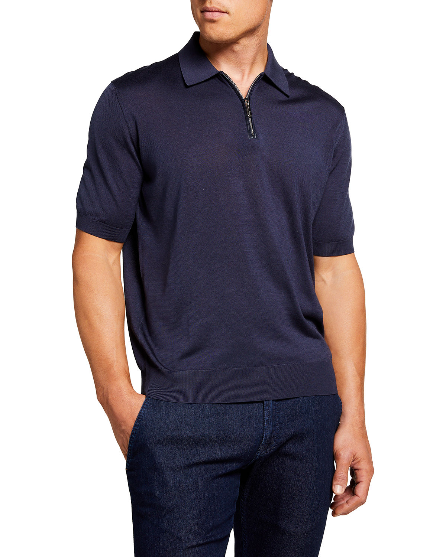 Men's Silk Polo Sweater
