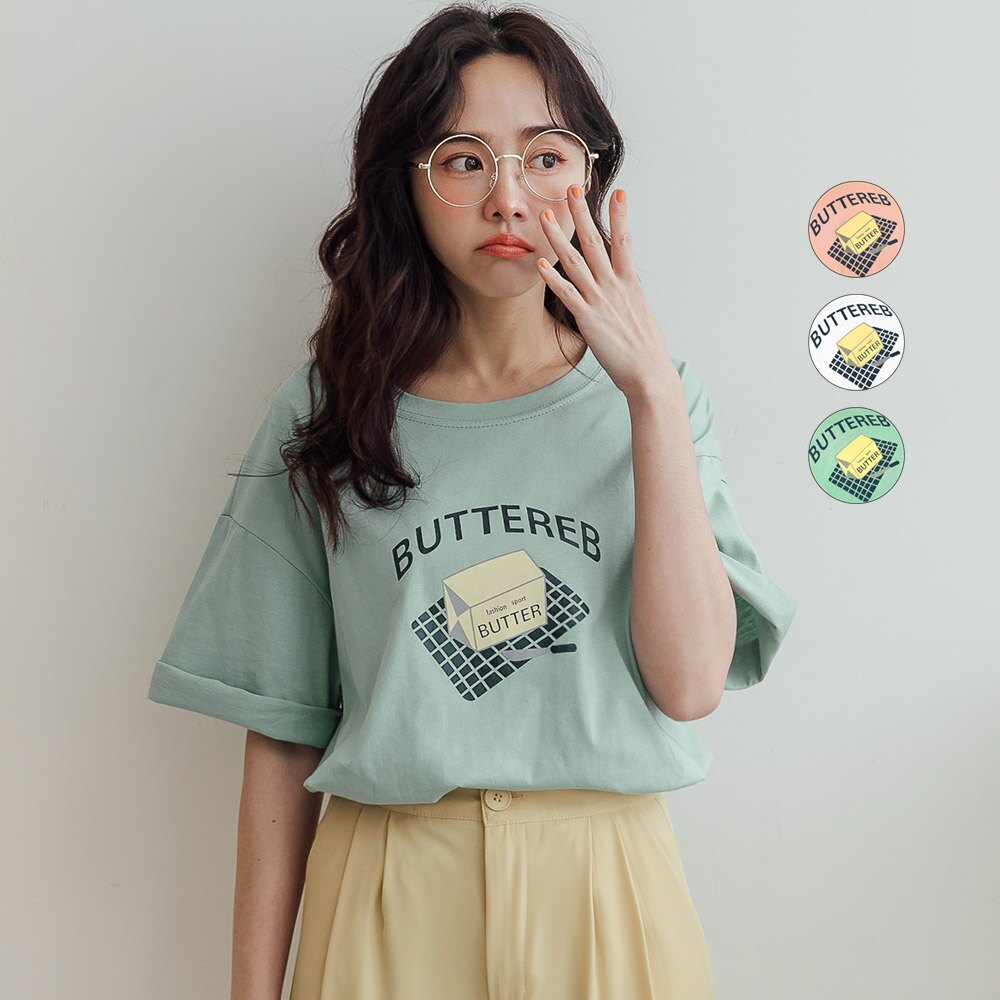 MIUSTAR BUTTEREB奶油塊膠印棉質上衣(共3色)短袖 短袖T恤 0413 預購【NJ0850】