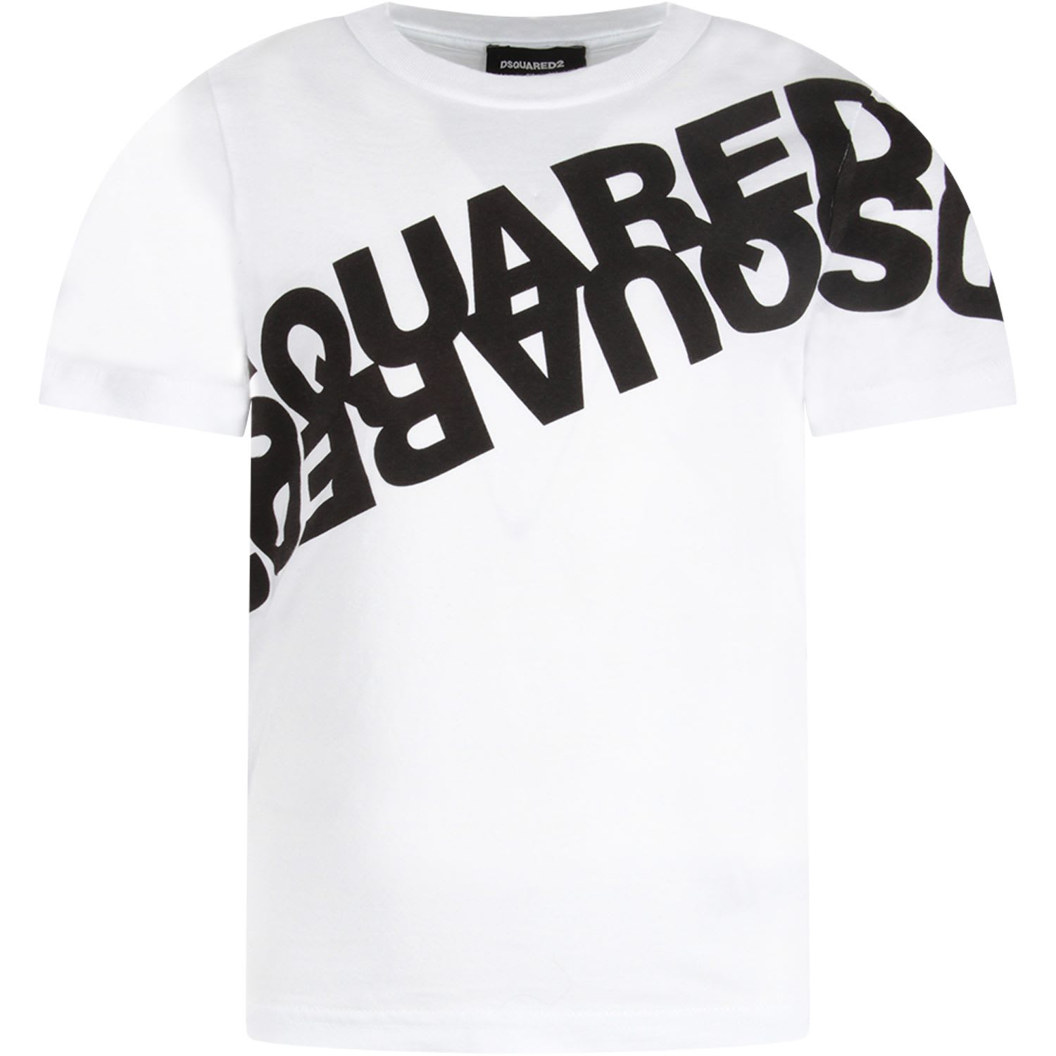 Dsquared2 White T-shirt For Kid With Black Logo